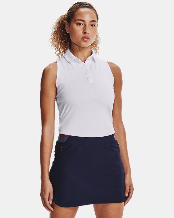 Women's UA Zinger Sleeveless Polo, White, pdpMainDesktop image number 1