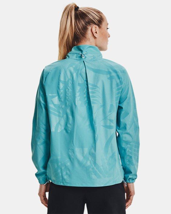 Women's UA RUSH™ Woven Emboss Jacket, Blue, pdpMainDesktop image number 2