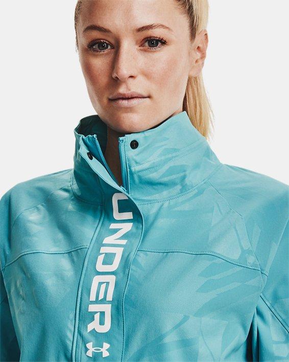 Women's UA RUSH™ Woven Emboss Jacket, Blue, pdpMainDesktop image number 6