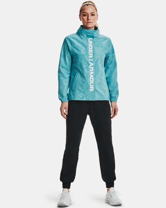 Women's UA RUSH™ Woven Emboss Jacket, Blue, pdpMainDesktop image number 0