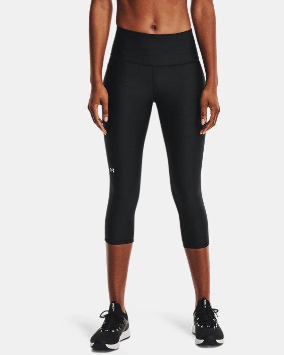 Women's HeatGear® Armour No-Slip Waistband Capris, Black, pdpMainDesktop image number 1