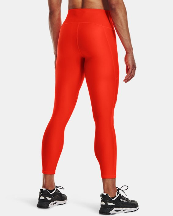 Damen HeatGear® Armour No-Slip Waistband Ankle-Leggings, Orange, pdpMainDesktop image number 1