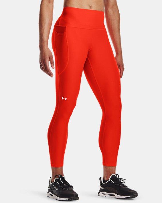 Damen HeatGear® Armour No-Slip Waistband Ankle-Leggings, Orange, pdpMainDesktop image number 0