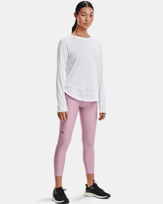 Women's HeatGear® Armour No-Slip Waistband Ankle Leggings, Pink, pdpMainDesktop image number 2