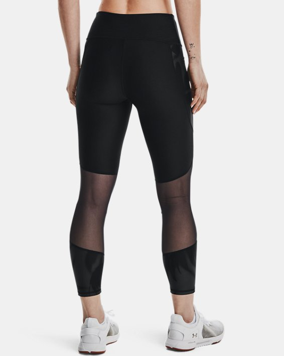 Women's HeatGear® Armour No-Slip Waistband Tonal Panel Ankle Leggings, Black, pdpMainDesktop image number 2