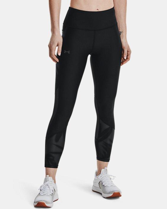 Women's HeatGear® Armour No-Slip Waistband Tonal Panel Ankle Leggings, Black, pdpMainDesktop image number 1