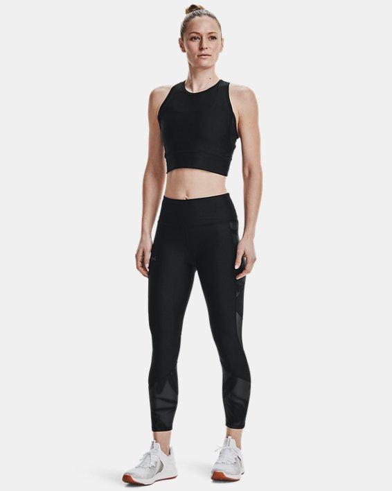 Women's HeatGear® Armour No-Slip Waistband Tonal Panel Ankle Leggings, Black, pdpMainDesktop image number 0