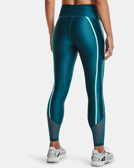 Women's HeatGear® Armour No-Slip Waistband Shine Mesh Full-Length Leggings, Green, pdpMainDesktop image number 2