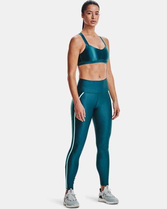 Women's HeatGear® Armour No-Slip Waistband Shine Mesh Full-Length Leggings, Green, pdpMainDesktop image number 0
