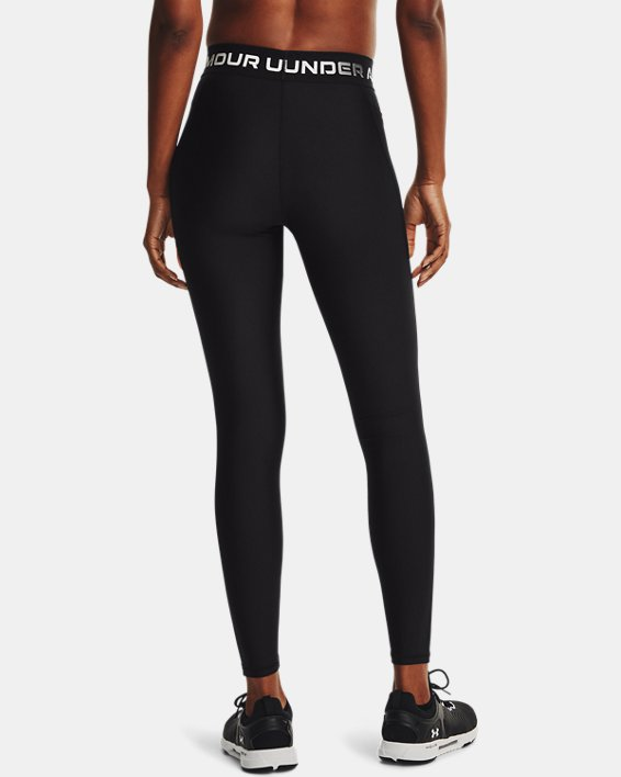 Women's HeatGear® Armour Wordmark Waistband Full-Length Leggings, Black, pdpMainDesktop image number 2