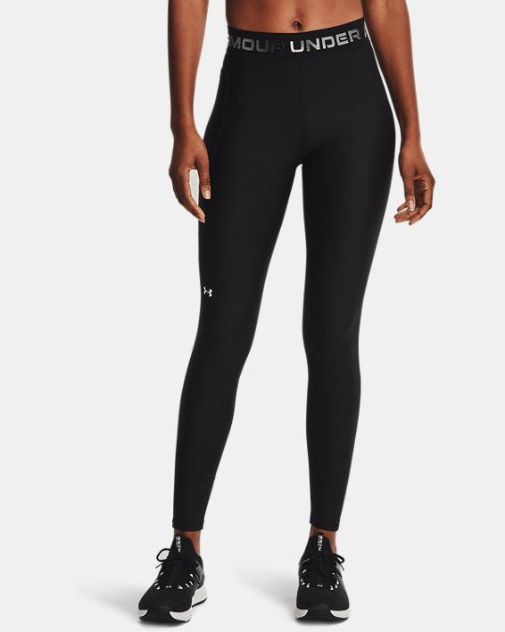 Women's HeatGear® Armour Wordmark Waistband Full-Length Leggings, Black, pdpMainDesktop image number 1