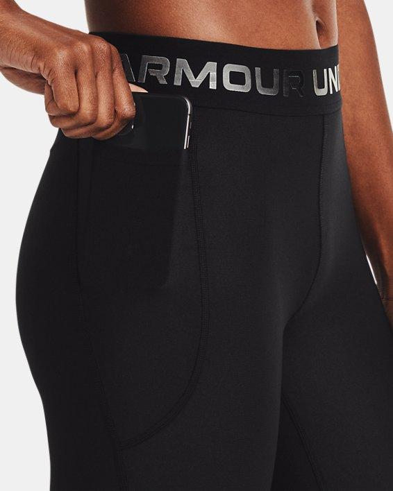 Women's HeatGear® Armour Wordmark Waistband Full-Length Leggings, Black, pdpMainDesktop image number 3