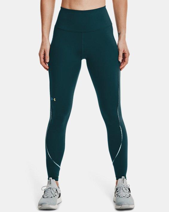 Women's UA RUSH™ No-Slip Waistband Scallop Full-Length Leggings, Blue, pdpMainDesktop image number 1