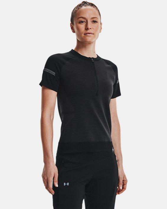 Women's UA IntelliKnit ¼ Zip Short Sleeve, Black, pdpMainDesktop image number 1