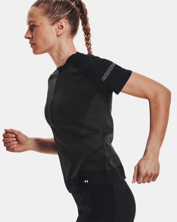Women's UA IntelliKnit ¼ Zip Short Sleeve, Black, pdpMainDesktop image number 5