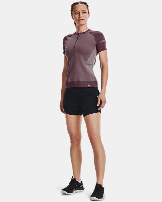 Women's UA IntelliKnit ¼ Zip Short Sleeve, Purple, pdpMainDesktop image number 0