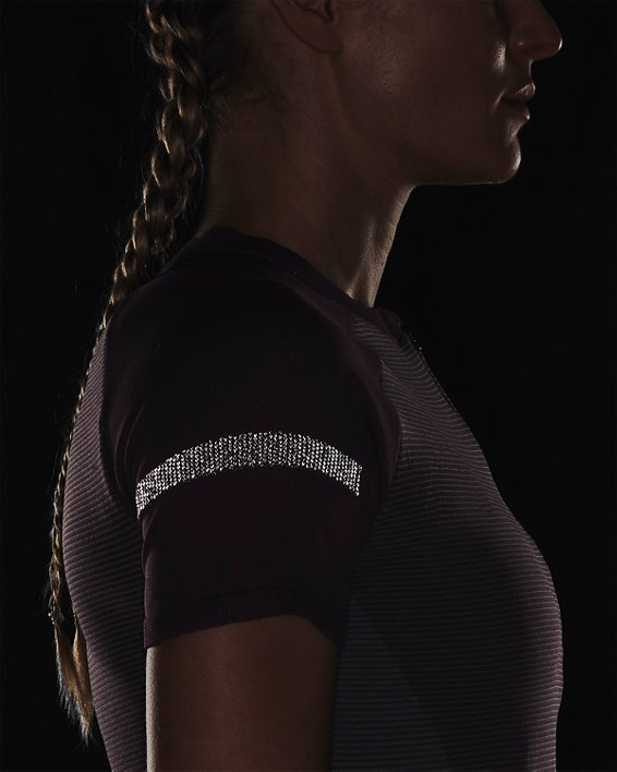 Women's UA IntelliKnit ¼ Zip Short Sleeve, Purple, pdpMainDesktop image number 6