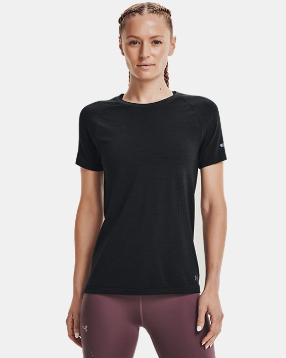 Women's UA Seamless Run Short Sleeve, Black, pdpMainDesktop image number 0
