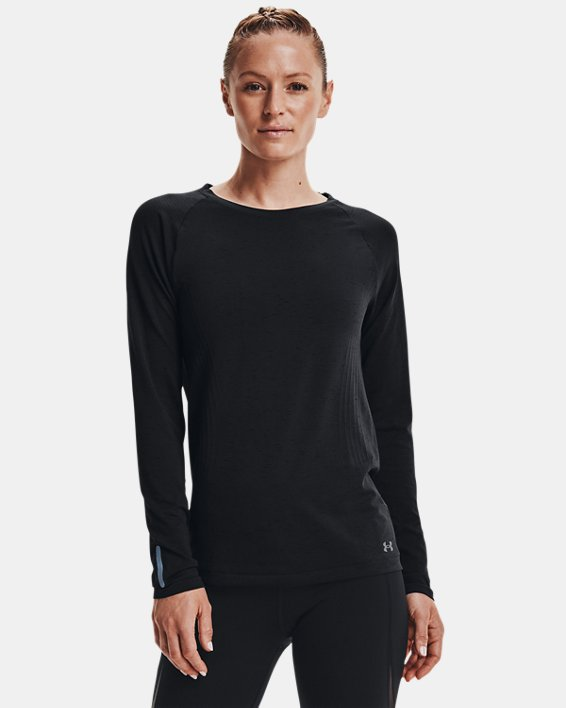 Women's UA Seamless Run Long Sleeve, Black, pdpMainDesktop image number 0