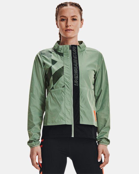 Women's UA Run Anywhere Laser Jacket, Green, pdpMainDesktop image number 1