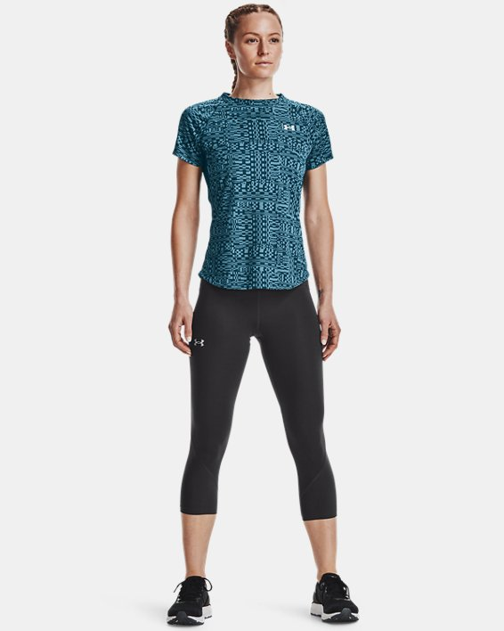 Women's UA Speed Stride Printed Short Sleeve, Blue, pdpMainDesktop image number 0