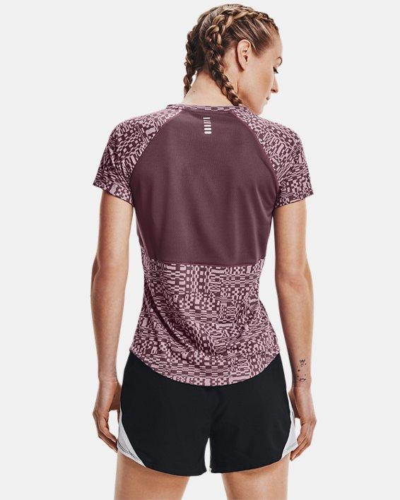 Women's UA Speed Stride Printed Short Sleeve, Purple, pdpMainDesktop image number 2