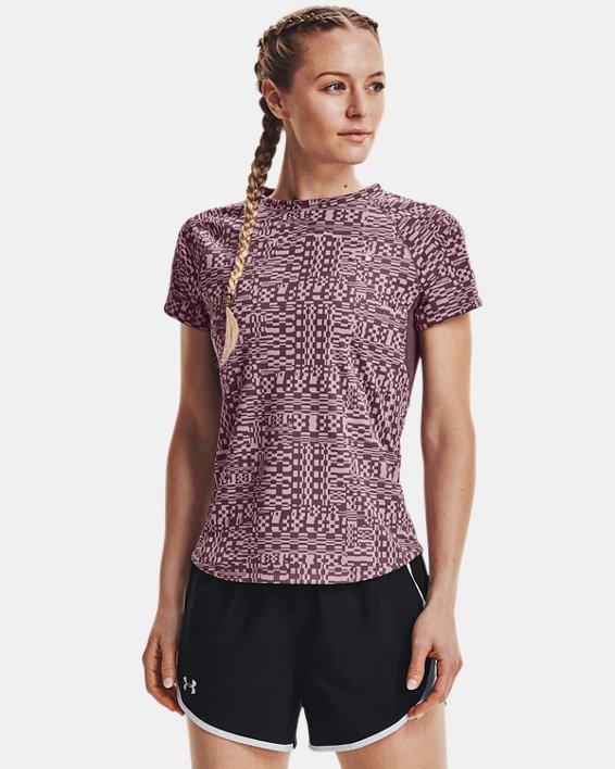 Women's UA Speed Stride Printed Short Sleeve, Purple, pdpMainDesktop image number 1