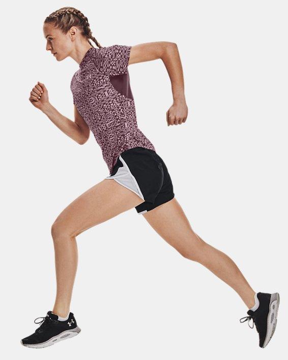 Women's UA Speed Stride Printed Short Sleeve, Purple, pdpMainDesktop image number 5