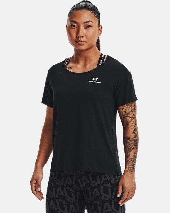 Women's UA RUSH™ Energy Core Short Sleeve, Black, pdpMainDesktop image number 0