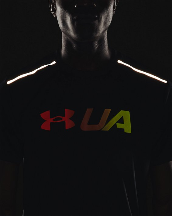 Men's UA Run Graphic Print Fill Short Sleeve, Black, pdpMainDesktop image number 6