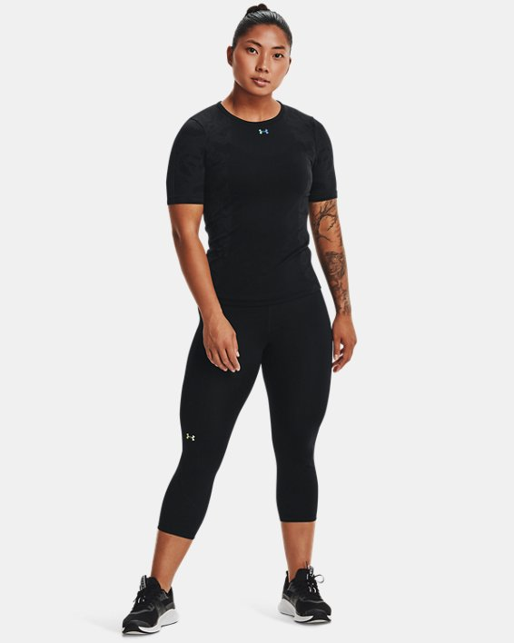 Women's UA RUSH™ HeatGear® Seamless Short Sleeve, Black, pdpMainDesktop image number 2