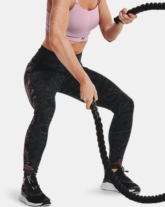 Women's UA RUSH™ HeatGear® No-Slip Waistband Printed Full-Length Leggings, Black, pdpMainDesktop image number 7