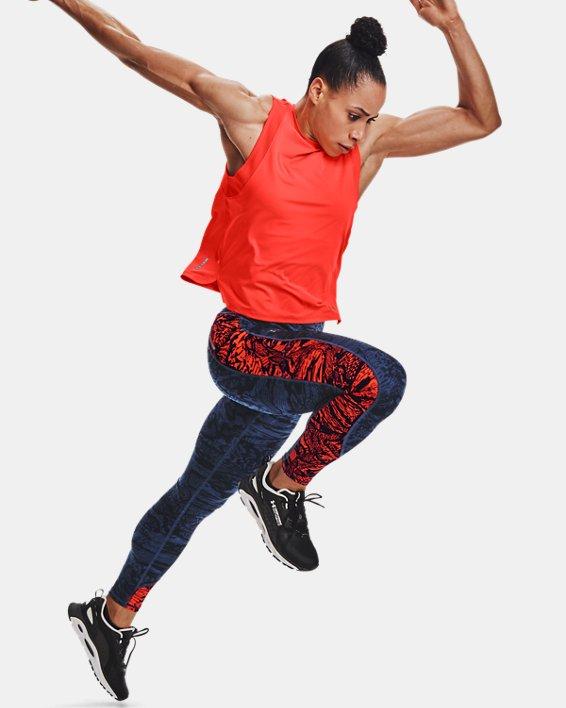 Women's UA RUSH™ HeatGear® No-Slip Waistband Printed Full-Length Leggings, Blue, pdpMainDesktop image number 1
