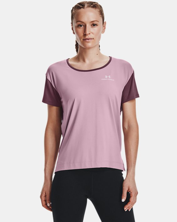 Women's UA RUSH™ Energy Colorblock Short Sleeve, Pink, pdpMainDesktop image number 1