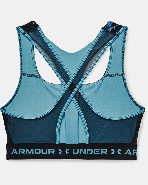 Sujetador deportivo de impacto medio Armour® Crossback para mujer, Blue, pdpMainDesktop image number 3