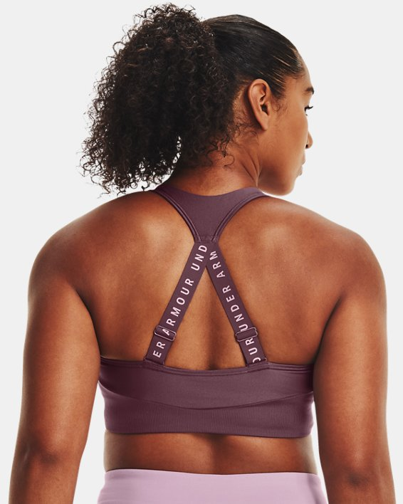 Women's UA Infinity Mid Rib Sports Bra, Purple, pdpMainDesktop image number 6
