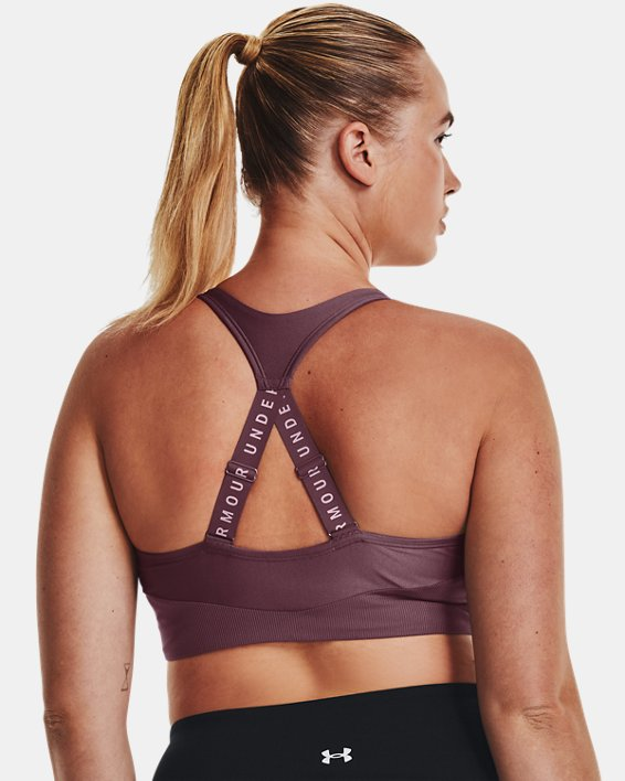 Women's UA Infinity Mid Rib Sports Bra, Purple, pdpMainDesktop image number 7