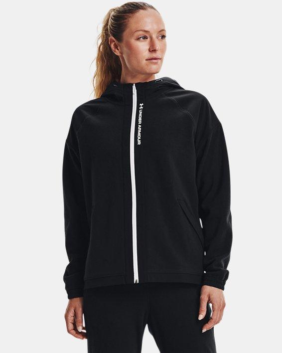 Women's UA RUSH™ Fleece Full-Zip Hoodie, Black, pdpMainDesktop image number 0
