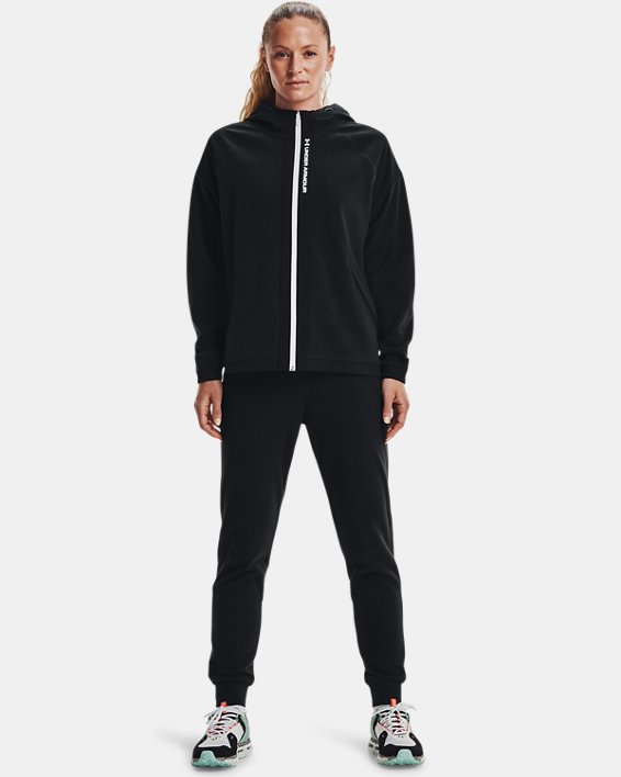 Women's UA RUSH™ Fleece Full-Zip Hoodie, Black, pdpMainDesktop image number 2