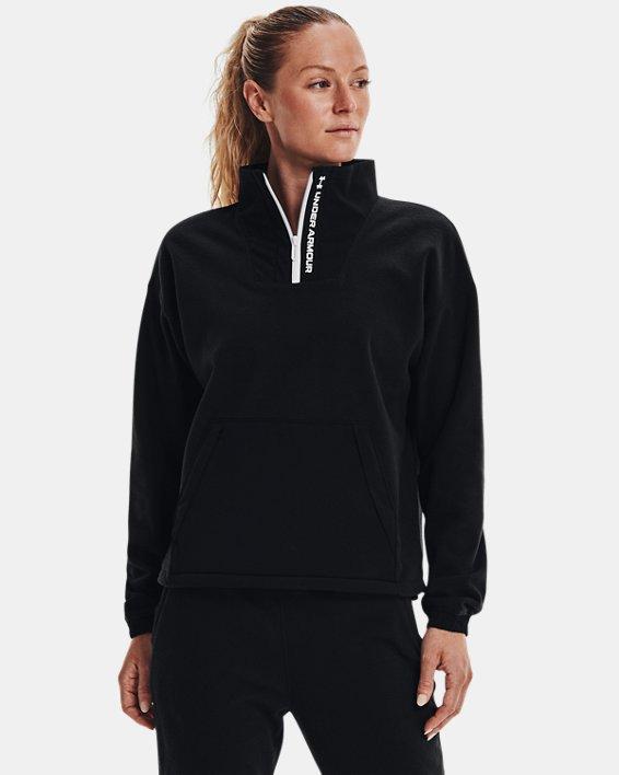 Women's UA RUSH™ Fleece ½ Zip Hoodie, Black, pdpMainDesktop image number 0