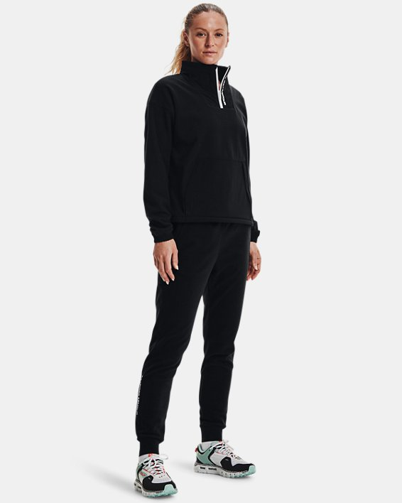 Women's UA RUSH™ Fleece ½ Zip Hoodie, Black, pdpMainDesktop image number 2