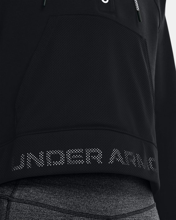 Women's UA Rival Fleece Mesh Hoodie, Black, pdpMainDesktop image number 3