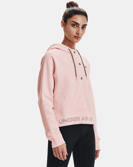 Women's UA Rival Fleece Mesh Hoodie, Pink, pdpMainDesktop image number 1