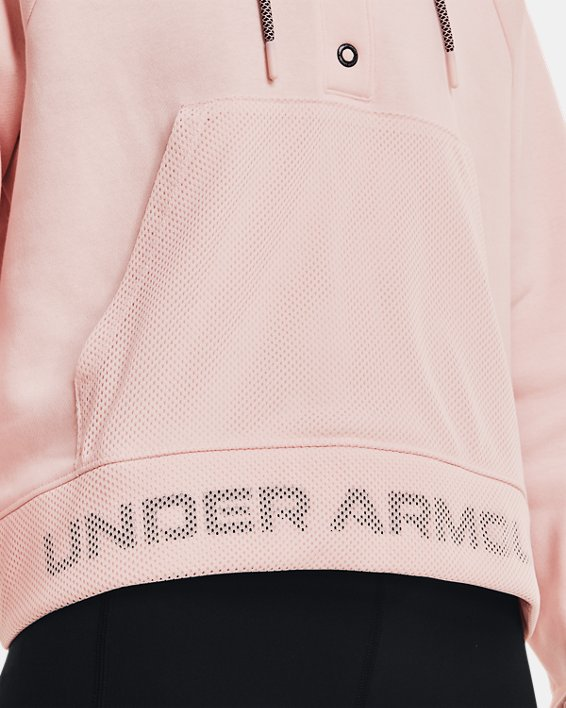 Women's UA Rival Fleece Mesh Hoodie, Pink, pdpMainDesktop image number 3