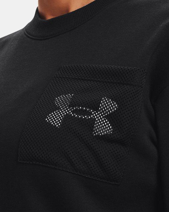 Women's UA Rival Fleece Mesh Crew, Black, pdpMainDesktop image number 6