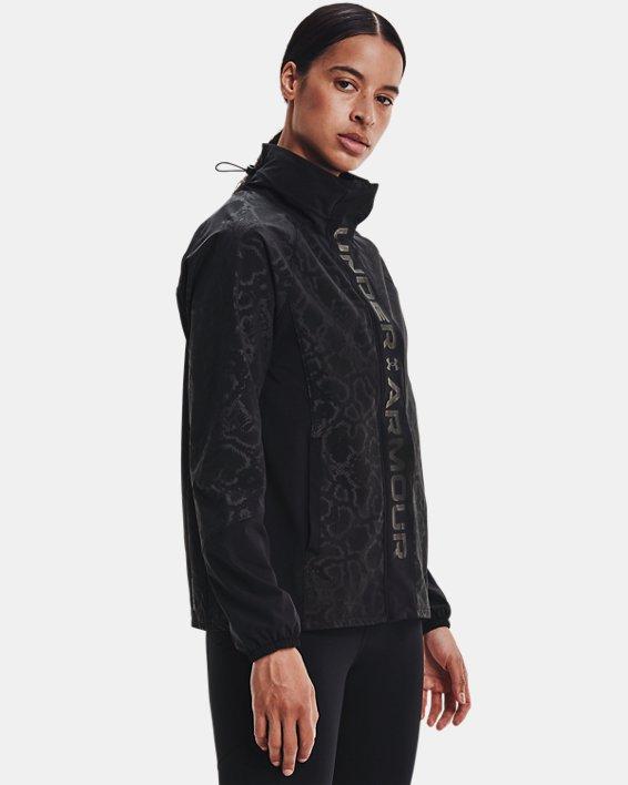 Women's UA RUSH™ Woven Print Full-Zip, Black, pdpMainDesktop image number 0