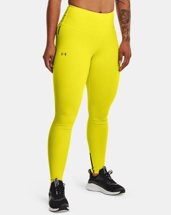 Women's UA RUSH™ HeatGear® No-Slip Waistband Custom Length Leggings, Yellow, pdpMainDesktop image number 0