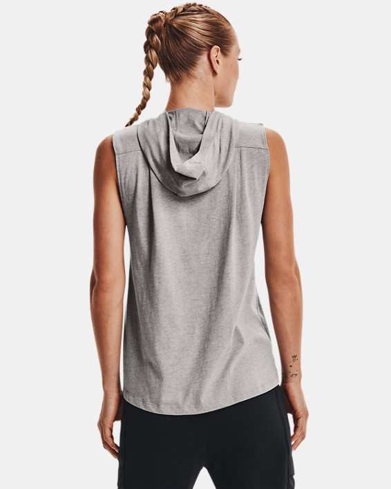 Women's Project Rock Graphic Hooded Tank, Gray, pdpMainDesktop image number 1