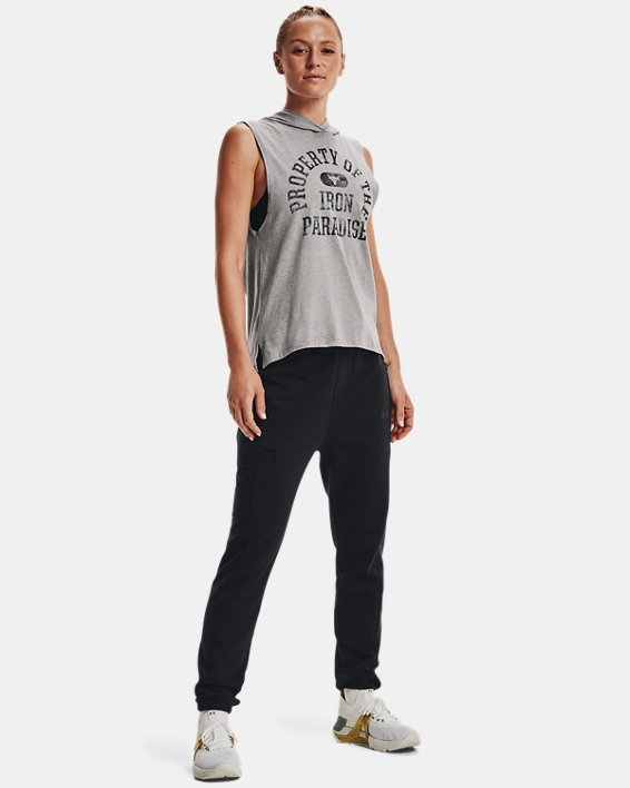 Women's Project Rock Graphic Hooded Tank, Gray, pdpMainDesktop image number 2
