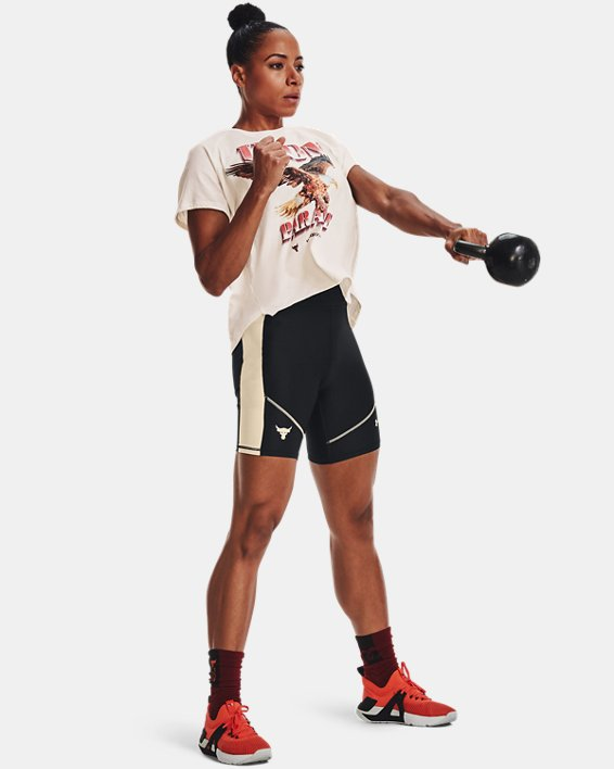 Women's Project Rock HeatGear® Bike Shorts, Black, pdpMainDesktop image number 3